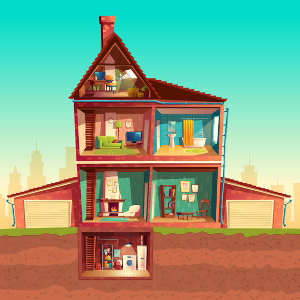 Vector cartoon multistorey house in cross section Vector three-story house interior in cross section with basement and garage. Cartoon multistorey private building. Attic, living room, bathroom, laundry in cellar. Architecture background bedroom backgrounds stock illustrations