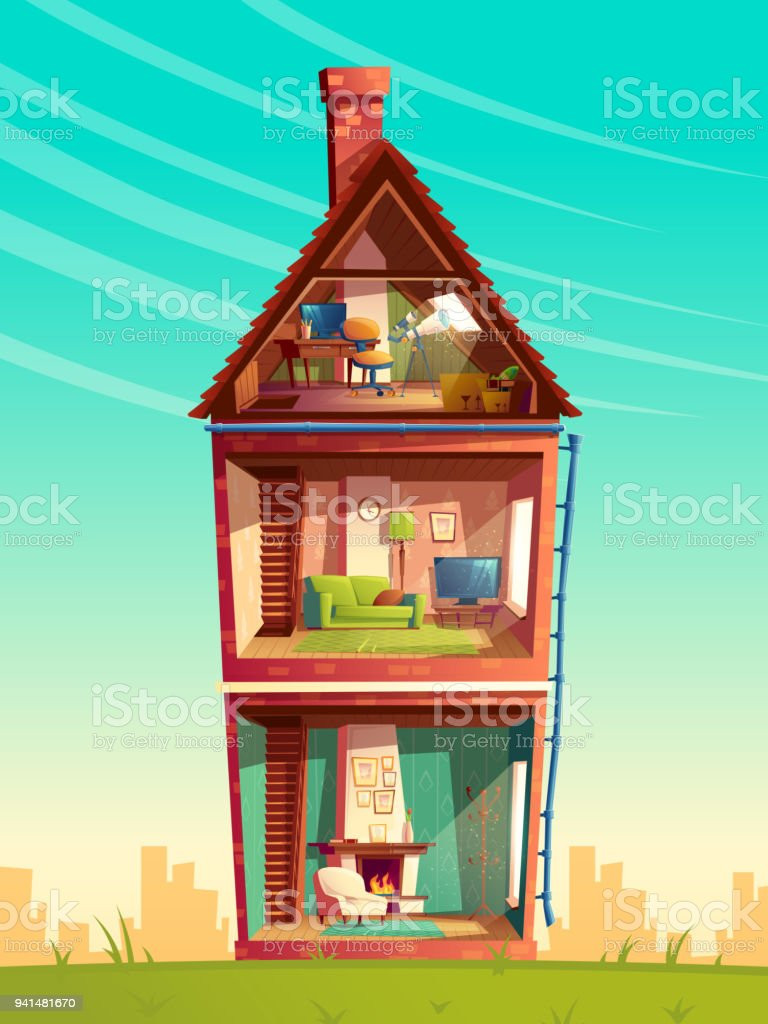 Vector Cartoon Mehrgeschossigen Haus Interieur Im Abschnitt Stock ...