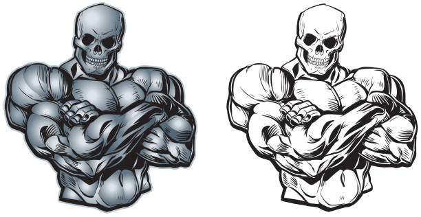 vector cartoon muscular torso with skull head - cartoon muscle arms stock illustrations, clip art, cartoons, & icons