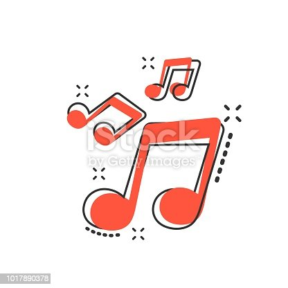 istock Vector cartoon music icon in comic style. Sound note sign illustration pictogram. Melody music business splash effect concept. 1017890378