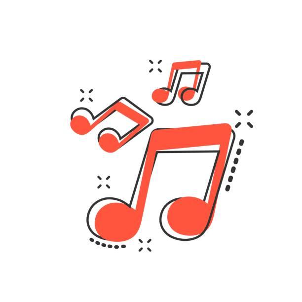 wektor kreskówka ikona muzyki w stylu komiksu. znak dźwiękowy piktogram ilustracji. melody music business splash effect concept. - muzyka stock illustrations