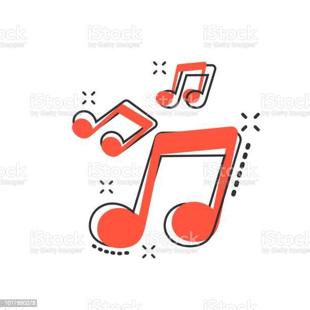 Vector Bande Dessinée Icône De La Musique Dans Le Style Comique Remarque Son Signe Illustration Pictogramme Concept Deffet De Mélodie Musique Commercial Splash Vecteurs libres de droits et plus d'images vectorielles de Application mobile