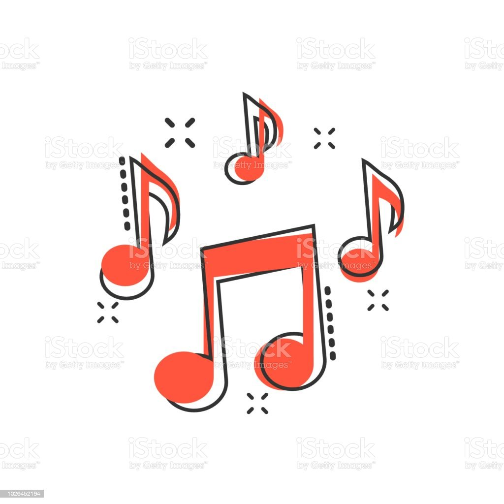 Vector Cartoon Music Note Icon In Comic Style Sound Media