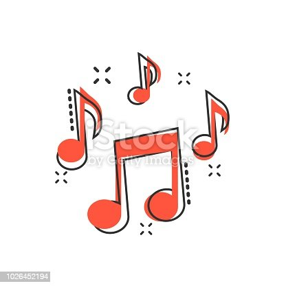 istock Vector cartoon music note icon in comic style. Sound media concept illustration pictogram. Audio note business splash effect concept. 1026452194
