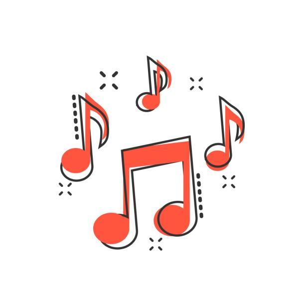 wektor kreskówka ikona nuty w stylu komiksu. piktogram ilustracji koncepcji mediów dźwiękowych. audio note business splash effect concept. - muzyka stock illustrations