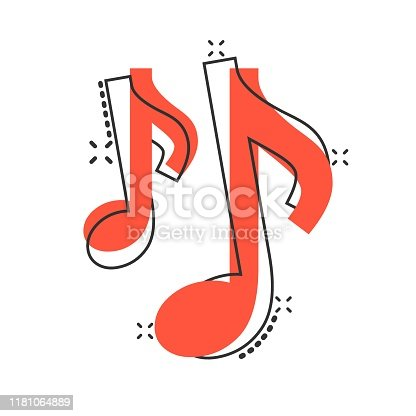 istock Vector cartoon music note icon in comic style. Sound media concept illustration pictogram. Audio note business splash effect concept. 1181064889