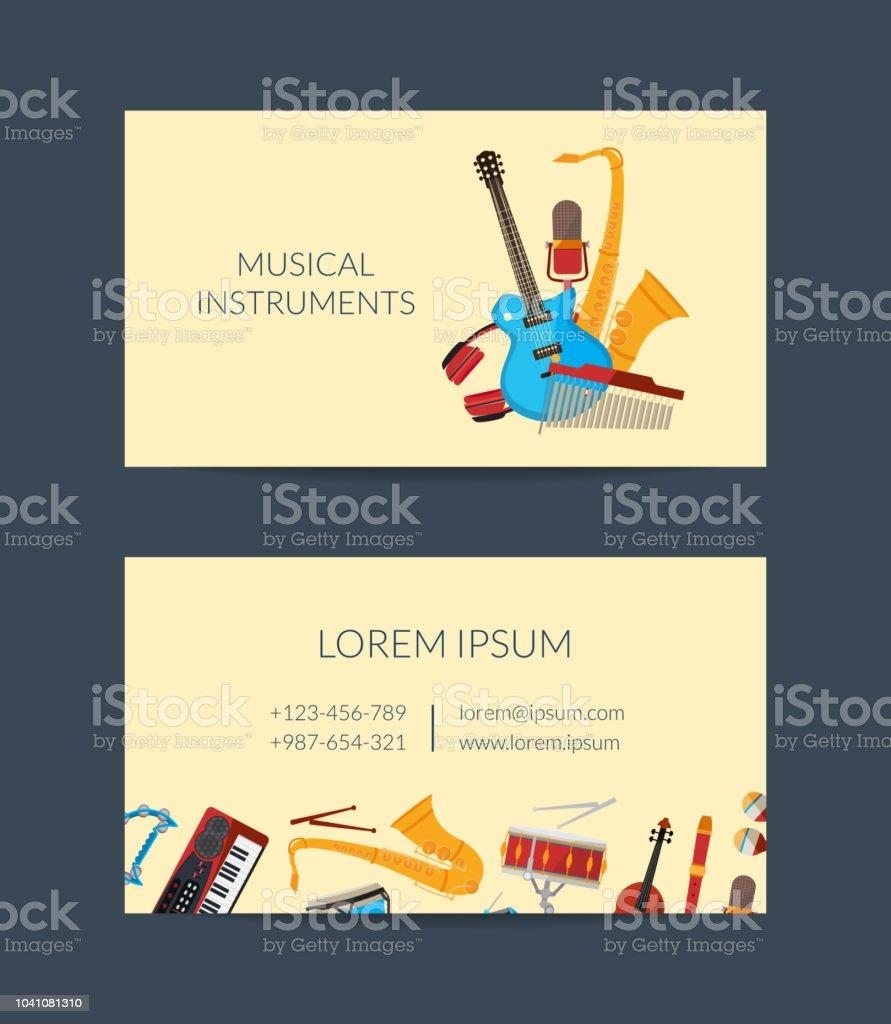 Carte De Visite Vecteur Caricature Instruments Musique