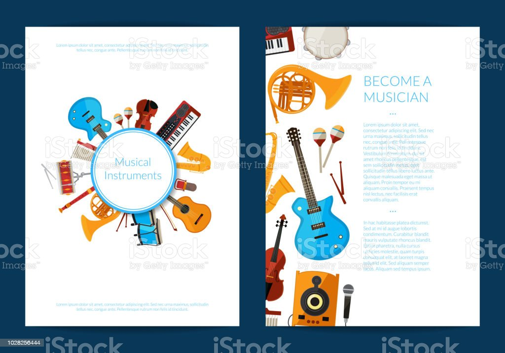 Vector cartoon musical instruments card or flyer template illustration