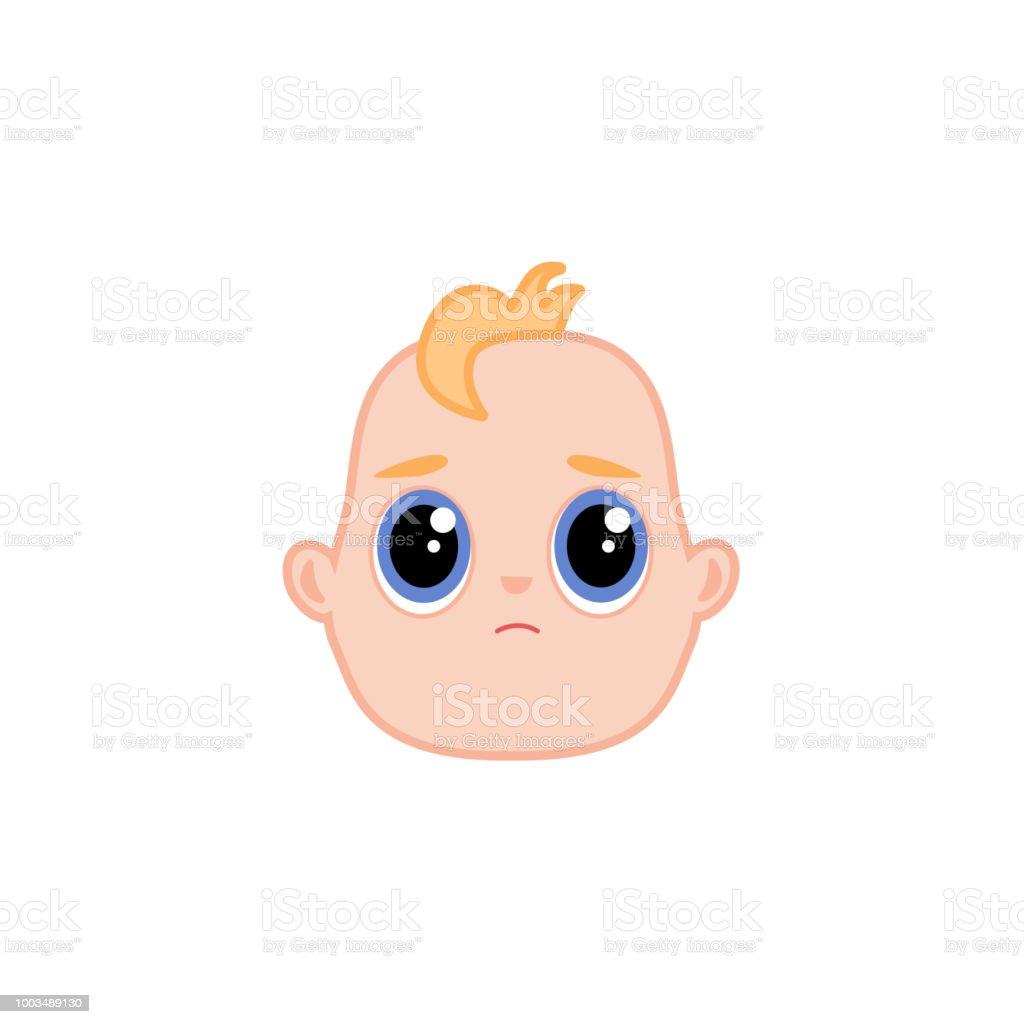 Vector cartoon newborn infant baby sad face vector art illustration