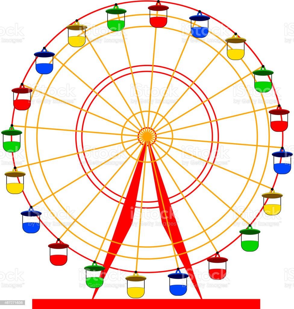 A vector cartoon of a colorful Ferris wheel vector art illustration