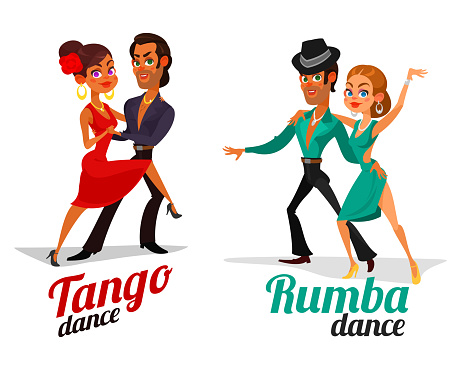 Vector cartoon of a couples dancing tango and rumba