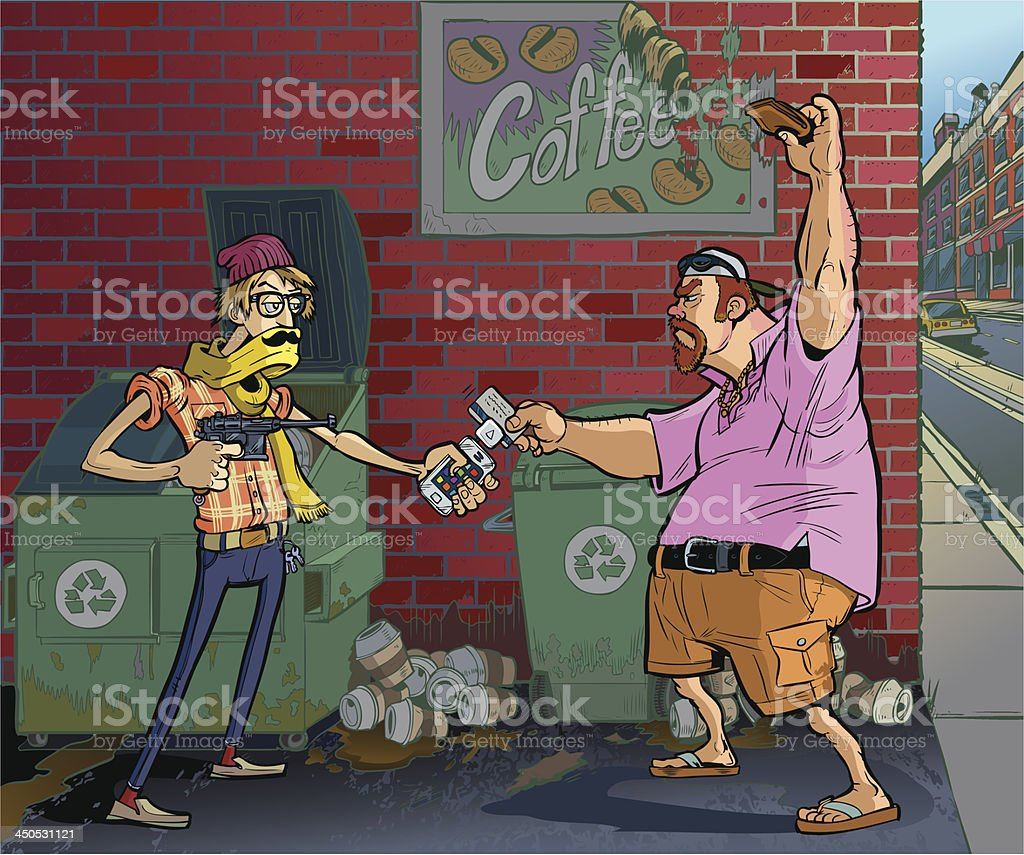Vector Cartoon Of A Hipster Robbing An Aging Frat Guy royalty-free stock vector art