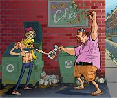 Vector Cartoon Of A Hipster Robbing An Aging Frat Guy
