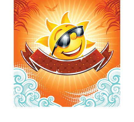 A vector cartoon of a summer background with a sun