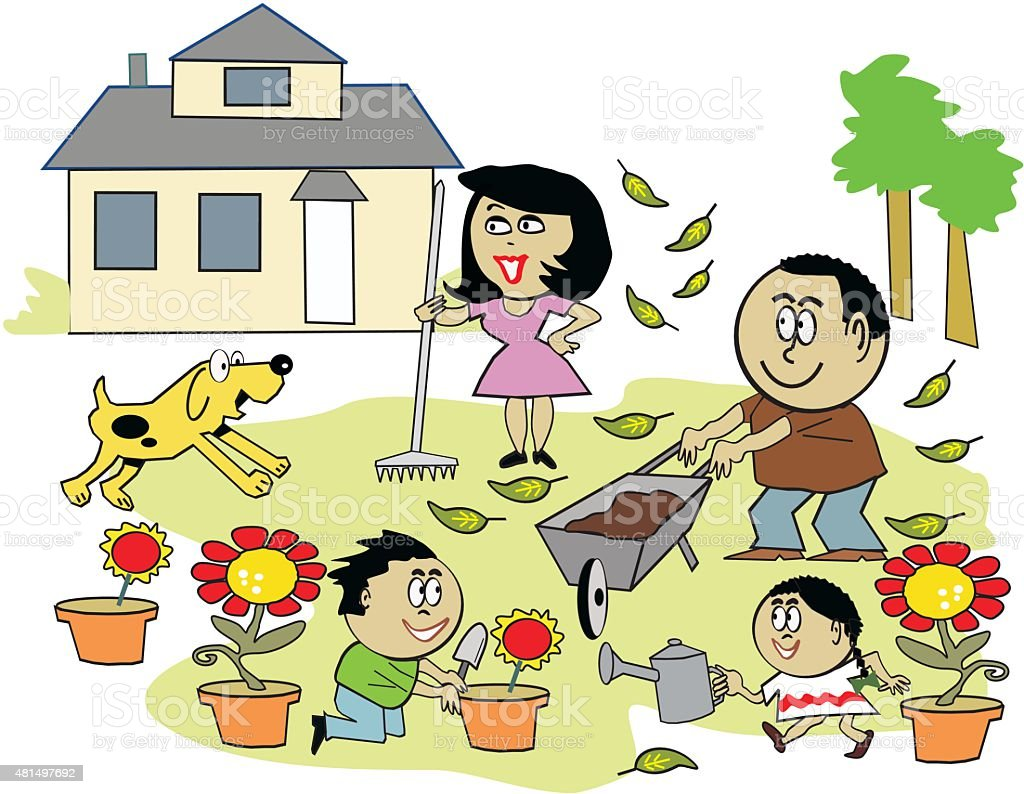 Vector cartoon of afro american family working in garden for Estudiar jardineria