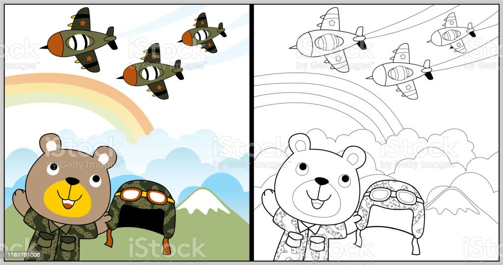 vector cartoon of air force show with funny animal sol r coloring vector id