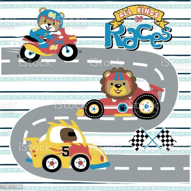 Vector cartoon of all kinds of races with funny animals racer vector id1181771360?b=1&k=6&m=1181771360&s=612x612&h=mqlzncb0jxd3djjn5vudodkazvuaehzwtagait2avay=