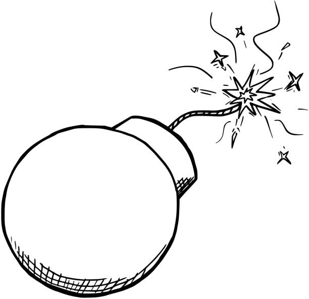 Vector Cartoon of Bomb With Fuse Burning Cartoon vector of retro bomb with its safety fuse burning explosive fuse stock illustrations