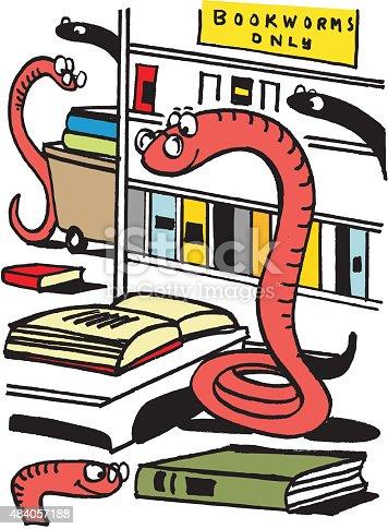 istock Vector cartoon of bookworms in library 484057188