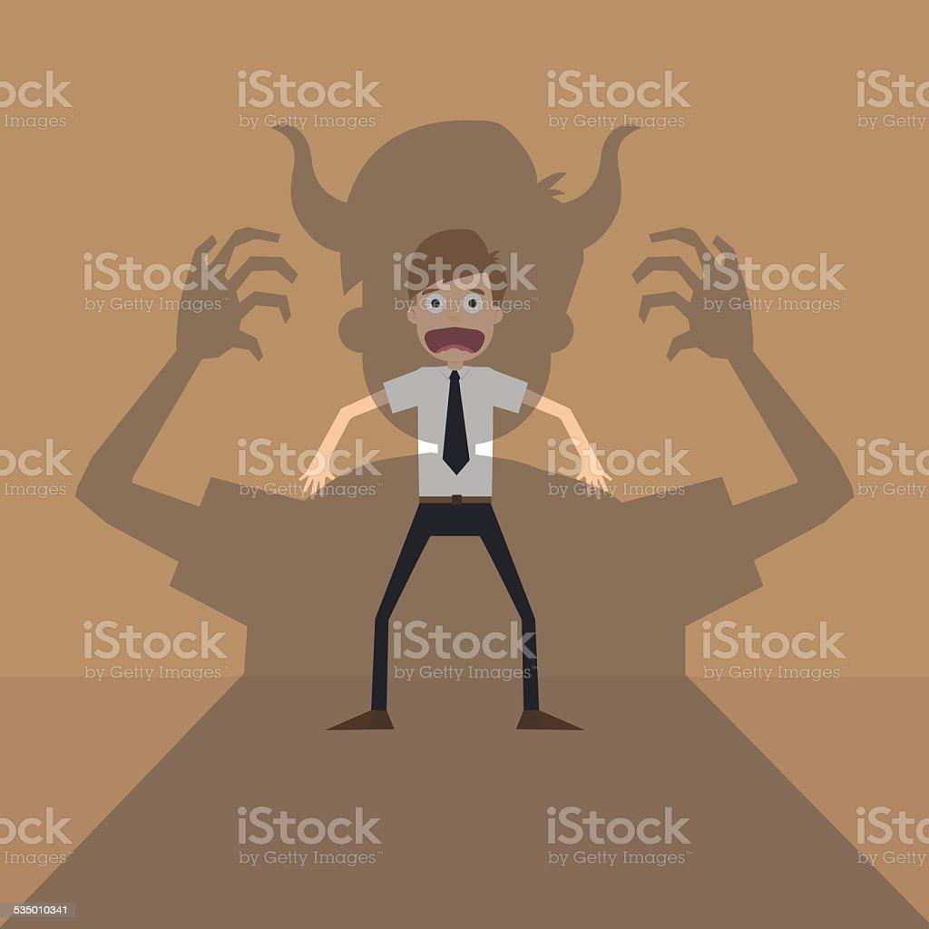 Vector cartoon of Businessman terror devil shadow vector art illustration