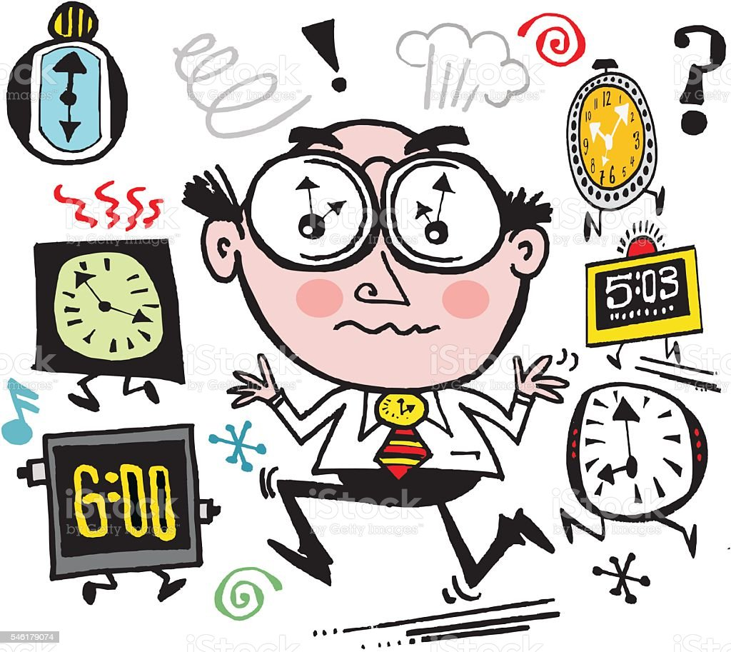 Executive Cartoon: Vector Cartoon Of Busy Business Executive Rushing To Meet