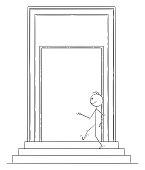 Vector Cartoon of Confident Man or Businessman Walking Through Big Door
