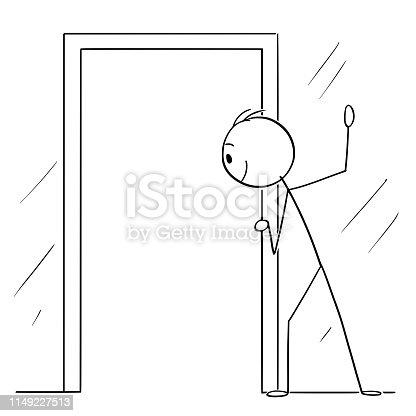 Vector cartoon stick figure drawing conceptual illustration of curious man or voyeur looking hidden through open door.