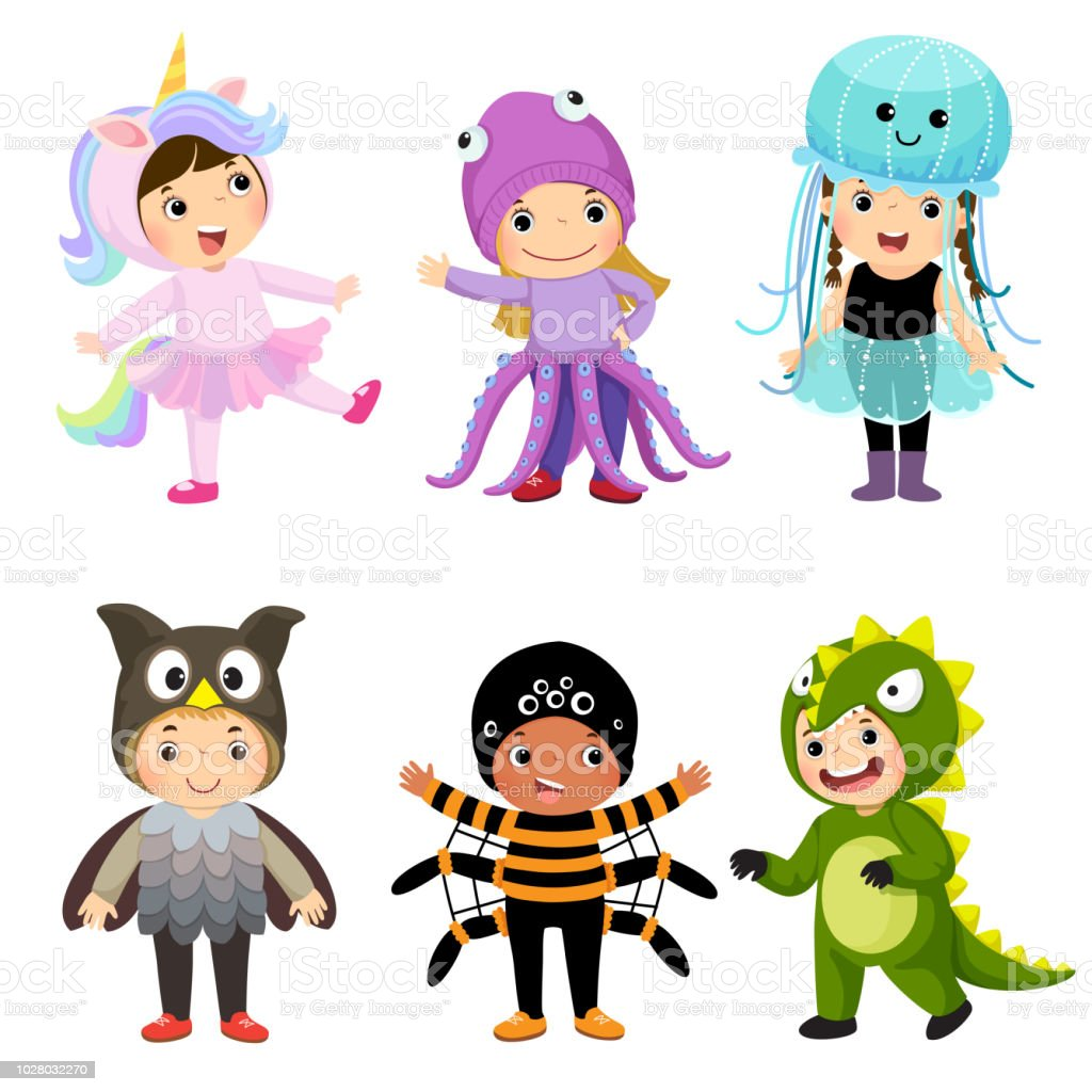 Vector cartoon of cute kids in animal costumes set. Carnival clothes for children. vector art illustration