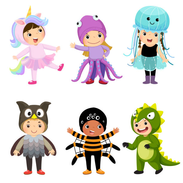 Vector cartoon of cute kids in animal costumes set. Carnival clothes for children. Vector cartoon of cute kids in animal costumes set. Carnival clothes for children. carnival children stock illustrations