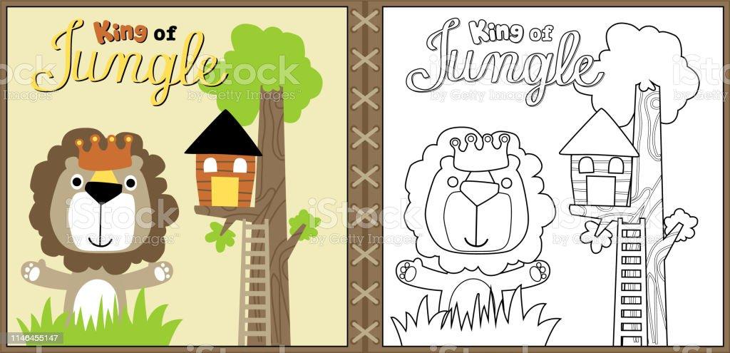 Vektör Karikatür Sevimli Aslan Orman Kralı Boyama Sayfası