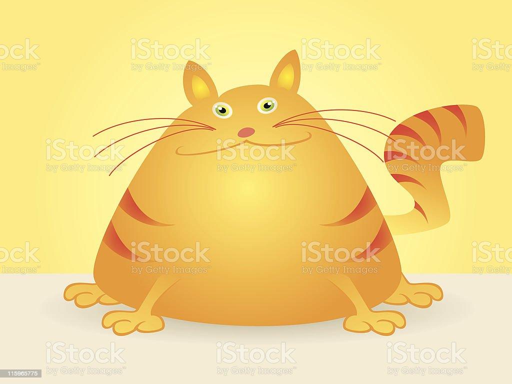 Vector Cartoon of Fat Cat Sitting vector art illustration