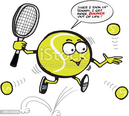 vector cartoon of funny tennis ball holding racquet stock