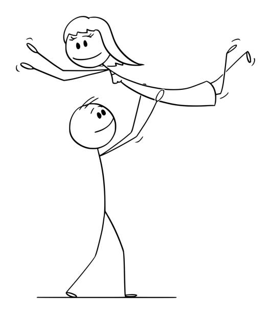 vector cartoon of heterosexual couple of man and woman performing dance pose lift during dancing - romance stock illustrations, clip art, cartoons, & icons