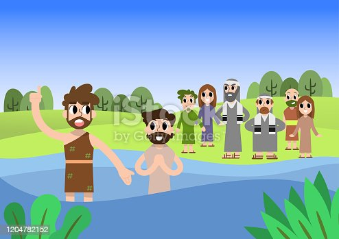 A lovely vector cartoon of John the baptist giving baptism at the Jordan river. Bible stories.