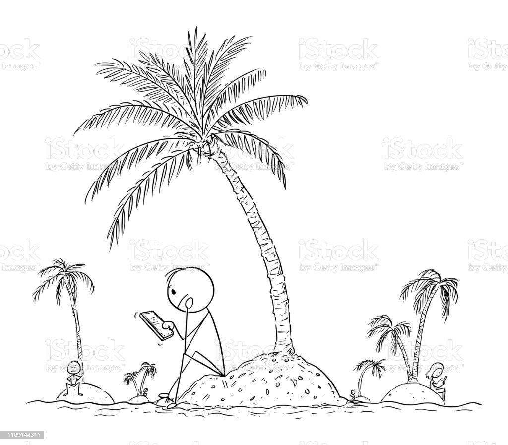 Vector Cartoon Of Lonely People Sitting Each One Alone On Small Island And Using Social Networks To Contact With Virtual Friends Stock Illustration Download Image Now Istock