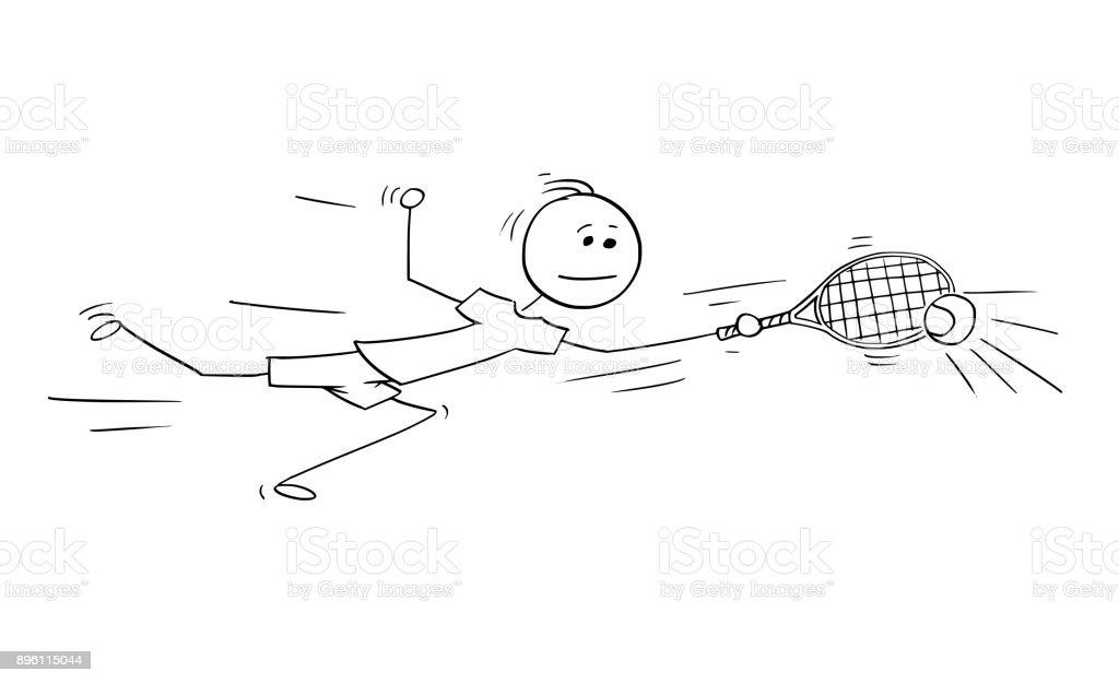 Vector Cartoon of Male Tennis Player Playing Returning vector art illustration