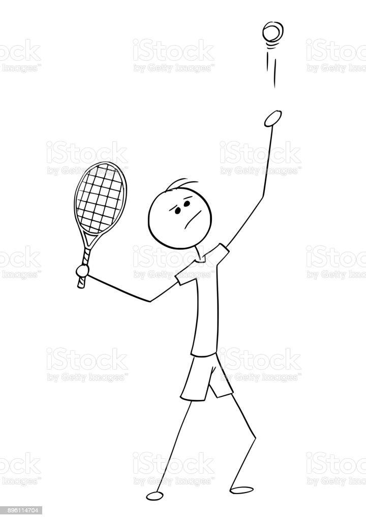 Vector Cartoon of Male Tennis Player Service Serving vector art illustration