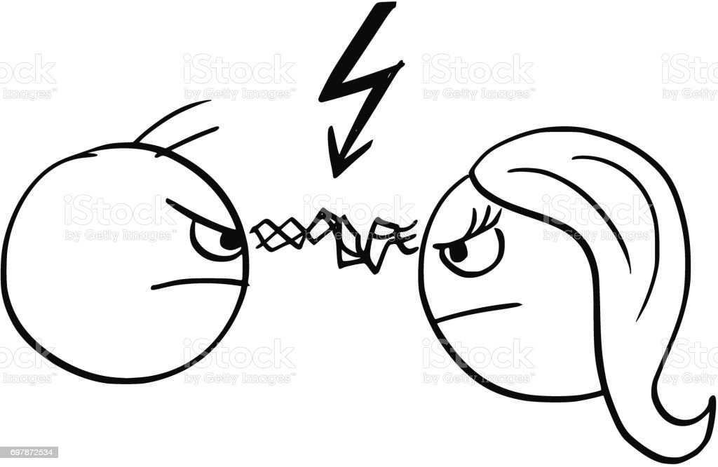 Vector Cartoon of man and Woman in Fight Anger with Lightning Bolt Flash Symbol vector art illustration