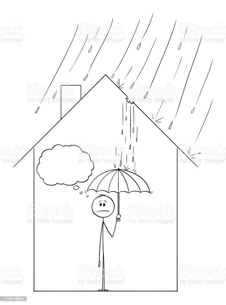 Vector Cartoon Of Man Holding Umbrella Inside His Family House With Water Coming Through Hole In The Roof Stock Illustration Download Image Now Istock