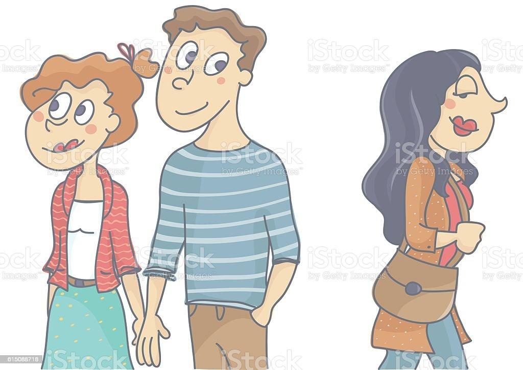 flirting vs cheating infidelity scene images clip art photos