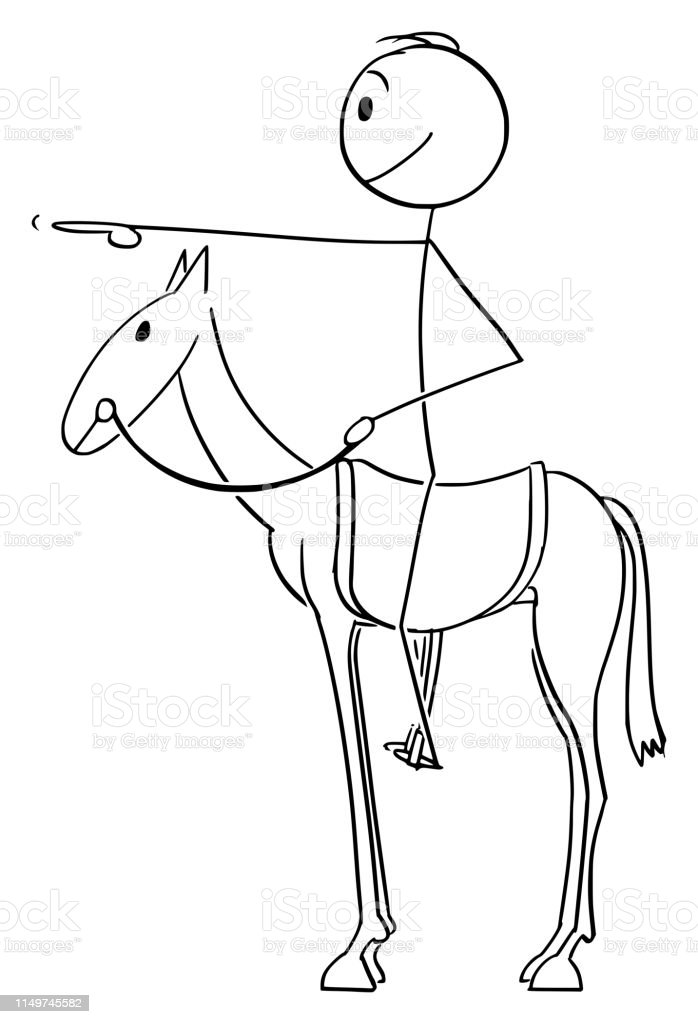 Vector Cartoon Of Man Or Businessman Sitting Or Riding On Horse And Pointing Forward With Finger Stock Illustration Download Image Now Istock