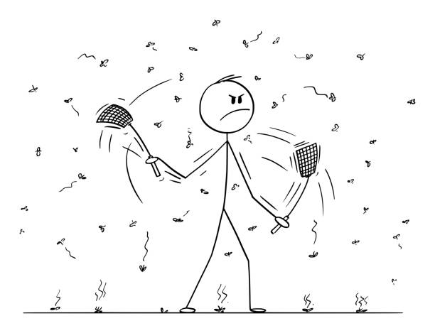Vector Cartoon of Man or Businessman with Swatters, Flappers or Fly-flaps in Both Hands Killing Flies or Mosquitoes Vector cartoon stick figure drawing conceptual illustration of man or businessman with swatters, flappers or fly-flaps in both hands killing flies, mosquitoes or just insect flying around. swarm of insects stock illustrations