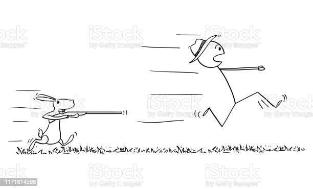 Vector cartoon of man or hunter running in fear away and rabbit or vector id1171614598?b=1&k=6&m=1171614598&s=612x612&h=vfeescsehjm9ybhiy ex1axxe71xtawcqgy20aavy9m=