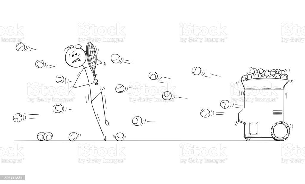 Vector Cartoon of Man Playing Against Tennis Ball Launcher Machine vector art illustration