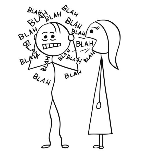 illustrazioni stock, clip art, cartoni animati e icone di tendenza di vector cartoon of man sick by talking woman - donna si nasconde