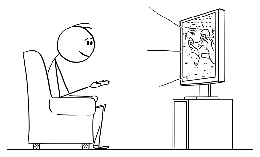 Vector Cartoon of Man Sitting in Armchair and Watching American Football Sport Game on TV or Television
