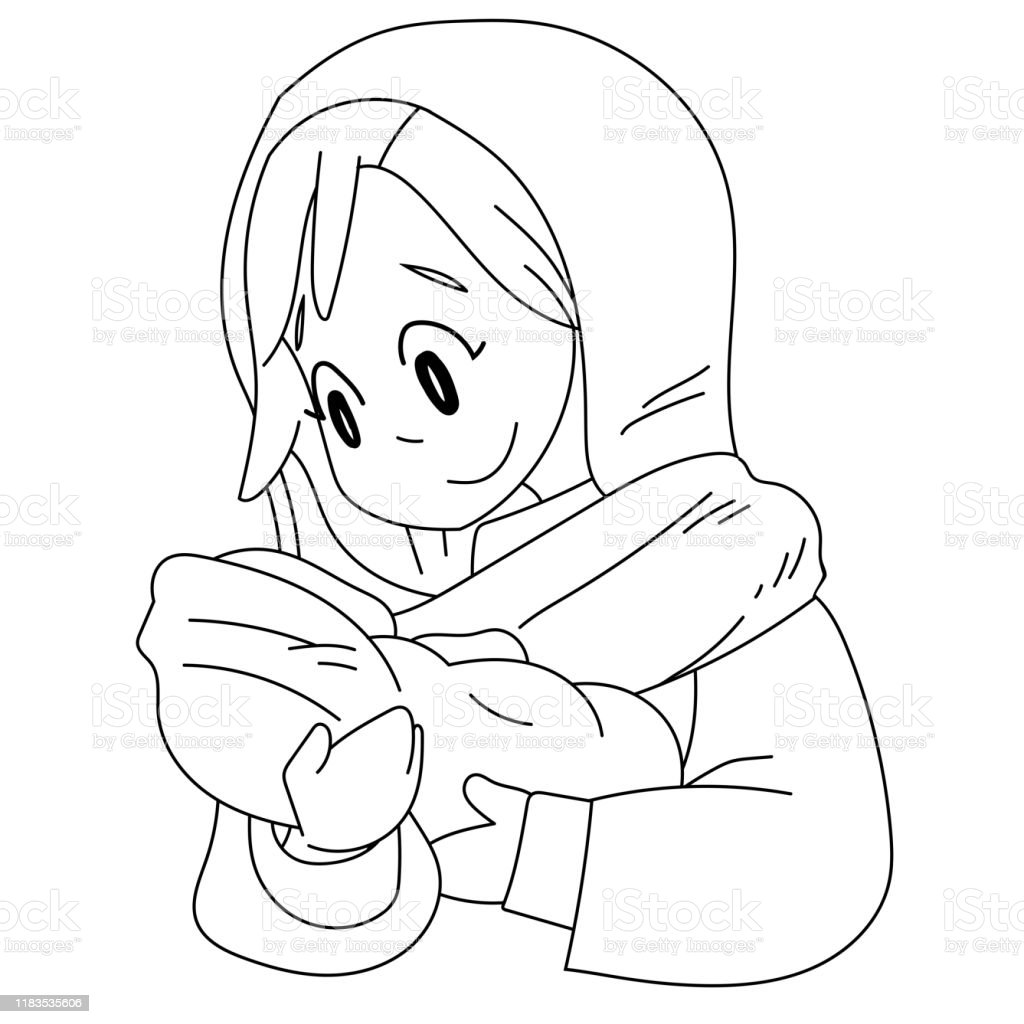 A Vector Cartoon Of Mary Holding Baby Jesus Coloring Page Stock Illustration Download Image Now Istock