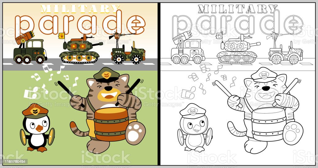 - Vector Cartoon Of Military Parade With Cat And Penguin Coloring Book Or  Page Stock Illustration - Download Image Now - IStock