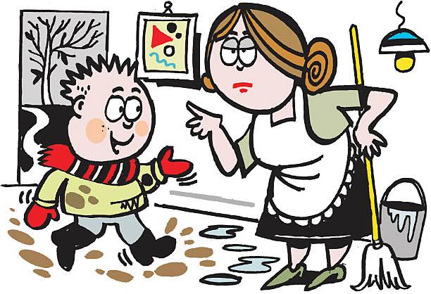 vektor-cartoon von matsch kleine junge in der küche - kinderstiefel stock-grafiken, -clipart, -cartoons und -symbole