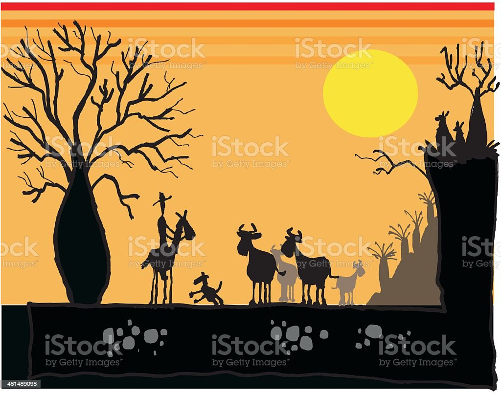 Vector cartoon of outback man on horse at sunset vector art illustration